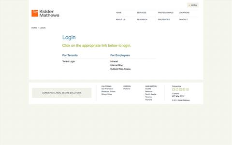 Screenshot of Login Page kiddermathews.com - Login - Kidder Mathews - captured Sept. 30, 2014