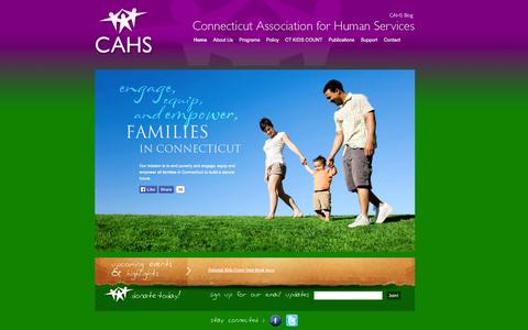 Screenshot of Home Page cahs.org - CAHS | Connecticut Association of Human Services - captured Oct. 2, 2014