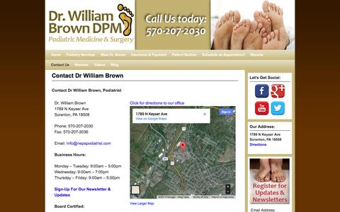 Screenshot of Contact Page Maps & Directions Page nepapodiatrist.com - Contact Dr William Brown - Dr. William Brown, DPM - captured Oct. 23, 2014