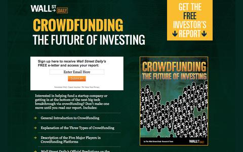 Screenshot of Landing Page wallstreetdaily.com - Crowdfunding The Future of Investing - captured Dec. 21, 2015