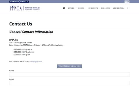 Screenshot of Contact Page lipca.com - Contact LIPCA Pest/Lawn Program Insurance Specialists - captured Sept. 25, 2018