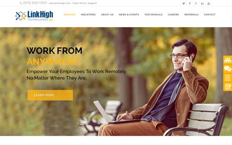 Screenshot of Home Page linkhigh.com - Link High Technologies | Managed IT Services | NJ IT Company - captured Feb. 4, 2016