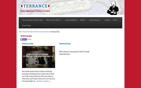 Screenshot of Testimonials Page paris-expat.com - Testimonials - Paris Travel Services with Terrance Gelenter - captured Jan. 25, 2016