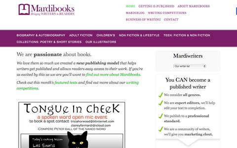 Screenshot of Home Page mardibooks.com - book publishers, editors, proof-readers | Mardibooks - captured Jan. 9, 2016