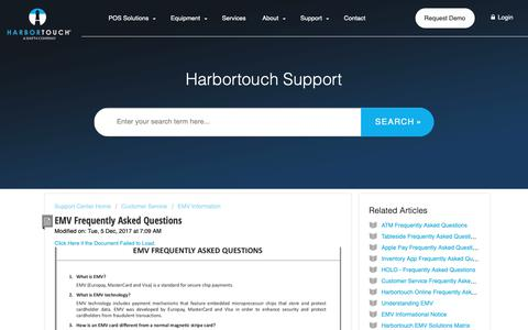 Screenshot of FAQ Page harbortouch.com - EMV Frequently Asked Questions : Harbortouch Support Center - captured Oct. 9, 2018
