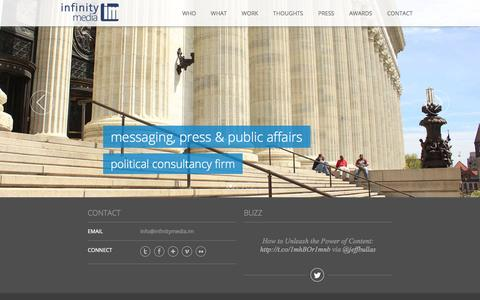 Screenshot of Home Page infinitymedia.im - Infinity Media - Storytelling, Messaging, Social Media. - captured Oct. 6, 2014