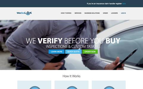 Screenshot of Home Page wegolook.com - WeGoLook - Property, Auto, eBay Item, and Heavy Equipment Inspections - captured June 17, 2015