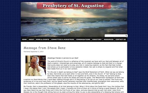 Screenshot of Press Page staugpres.org - News | Presbytery of St. Augustine | The mission of the Presbytery of St. Augustine is to serve Jesus Christ by strengthening our congregations in their ministries and enabling us to accomplish together what none could accomplish alone. - captured Oct. 6, 2014