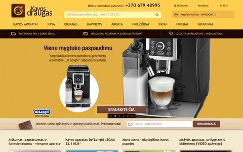Screenshot of Home Page kavosdraugas.lt - Kavos draugas - Kavos aparatai, kava, kavos pupelės - captured Sept. 23, 2014