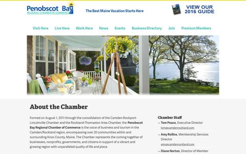 Screenshot of About Page camdenrockland.com - About the Chamber | Penobscot Bay Region Chamber of Commerce - captured Nov. 1, 2016