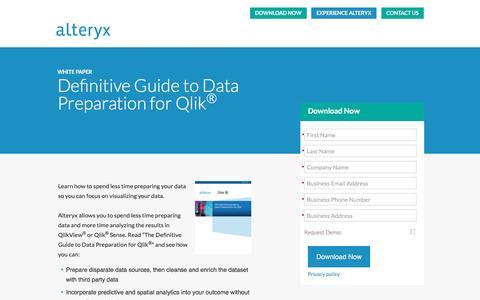 Screenshot of Landing Page alteryx.com - Definitive Guide to Data Preparation for Qlik<sup>®</sup> - captured April 4, 2016