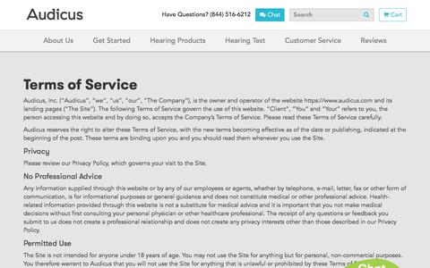 Screenshot of Terms Page audicus.com - Terms of Service | Audicus Hearing Aids - captured May 9, 2018