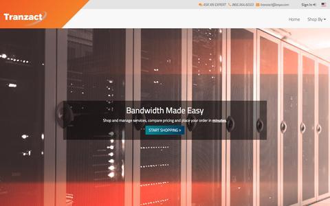 Screenshot of Signup Page Login Page zayo.com - Tranzact by Zayo® - captured March 27, 2017