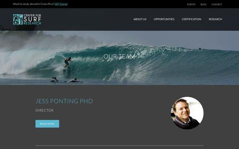 Screenshot of Team Page centerforsurfresearch.org - Our Team - The Center for Surf Research - captured Sept. 29, 2014