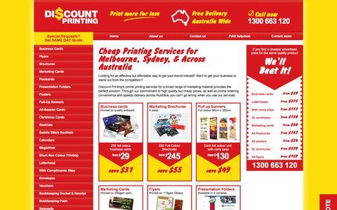 Screenshot of Home Page discountprinting.com.au - Cheap Printing - Melbourne, Sydney & Across Australia - captured Jan. 10, 2016