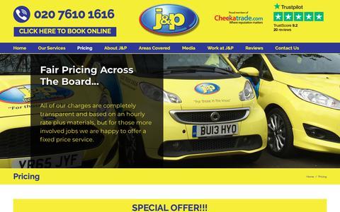 Screenshot of Pricing Page jandpplumbing.co.uk - Pricing - J&P Plumbing and Heating - captured Sept. 30, 2018