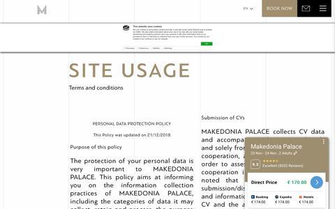 Screenshot of Terms Page makedoniapalace.com - Makedonia Palace Hotel Thessaloniki - Terms - captured Nov. 23, 2019