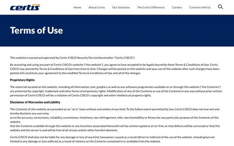 Screenshot of Terms Page certissecurity.com - Terms of Use - captured Sept. 27, 2018