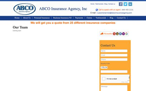 Screenshot of Team Page abcoinsuranceagency.com - Our Team At ABCO - Cherry Hill, Vineland & Egg Harbor NJ - captured Oct. 6, 2017