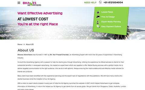 Screenshot of About Page bhavesads.com - About Bhaves Advertisers an Advertising Agency - captured Jan. 15, 2020