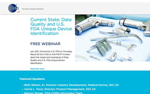 Screenshot of Landing Page gs1us.org - Current State: Data Quality and U.S. FDA Unique Device Identification - captured March 27, 2018