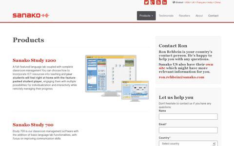 Screenshot of Products Page sanako.com - Products • Sanako - captured July 20, 2014