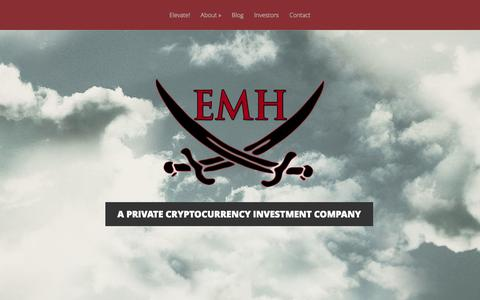 Screenshot of Home Page elevatemediaholdings.com - Bitcoin and Cryptocurrency Investment Company - captured Jan. 26, 2015