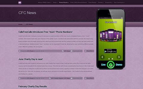 Screenshot of Press Page callsfreecalls.com - Cfc News | CFC - Free International Calls and SMS - captured July 19, 2014
