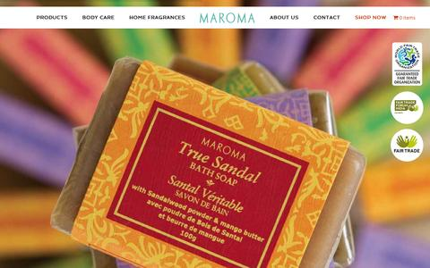 Screenshot of Home Page maroma.com - Maroma - Auroville, India - captured Feb. 12, 2016