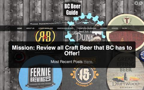Screenshot of Home Page bcbeerguide.ca - BC Beer Guide | Your Guide to BC Craft Beer - captured Dec. 28, 2015