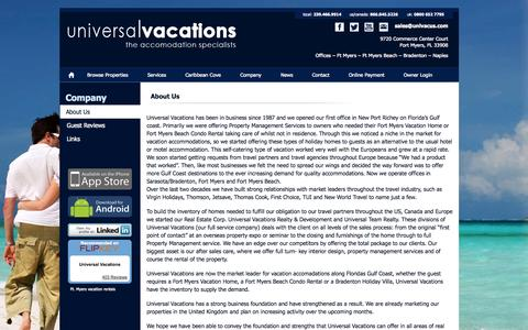 Screenshot of About Page univacus.com - Vacation homes in fort myers - Universal Vacations of Fort Myers, FL - Private homes , condominiums and villa vacation rentals for Fort Myers Beach & Bradenton Florida, Fort Myers Vacation Homes - captured Nov. 5, 2014
