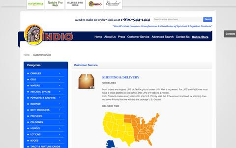 Screenshot of Support Page indioproducts.com - Customer Service - captured Oct. 6, 2014