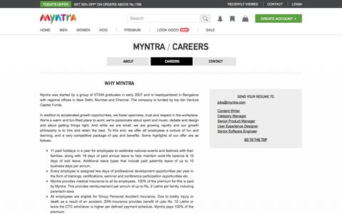 Screenshot of Jobs Page myntra.com - Online Shopping India - Shop Online for Branded Shoes, Clothing & Accessories in India | Myntra.com - captured Sept. 16, 2014