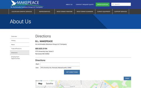 Screenshot of Maps & Directions Page makepeace.com - Directions | Makepeace, Inc. - captured Sept. 28, 2018