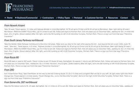 Screenshot of Maps & Directions Page franchinoinsurance.com - Directions to Franchino Insurance Agency   Franchino Insurance - captured Aug. 4, 2016