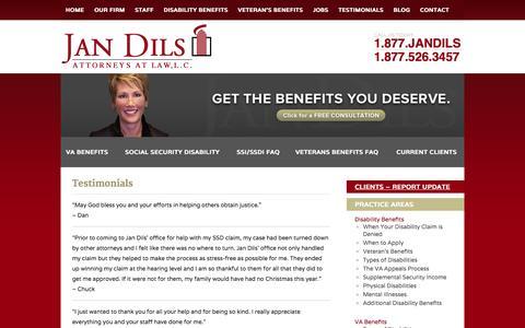Screenshot of Testimonials Page jandils.com - Testimonials   Jan Dils Law Firm   Attorneys Parkersburg - captured Oct. 6, 2014