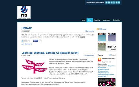 Screenshot of Blog weebly.com - ITG - Blog - captured Sept. 17, 2014