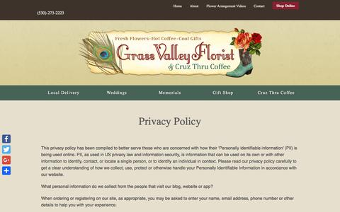 Screenshot of Privacy Page grassvalleyflorist.com - Privacy Policy - Grass Valley Florist - captured July 23, 2018