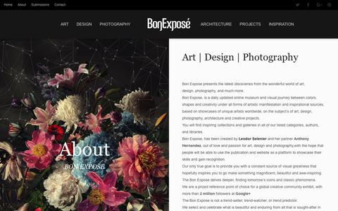 Screenshot of About Page bonexpose.com - About | Bon Expose - Museum of Art and Design - captured July 30, 2016