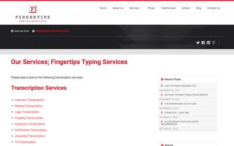 Screenshot of Services Page fingertipstyping.co.uk - Our Services; Fingertips Typing Services - captured Nov. 25, 2016
