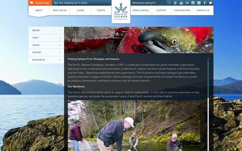 Screenshot of About Page psf.ca - About | Pacific Salmon Foundation - captured Oct. 1, 2014