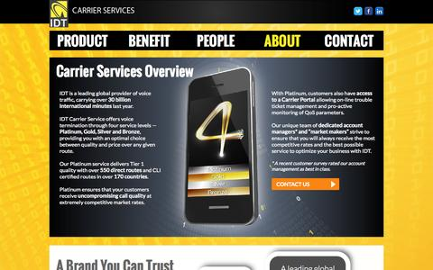 Screenshot of About Page Testimonials Page idtcarrierservices.com - IDT Carrier Services - captured Sept. 30, 2014