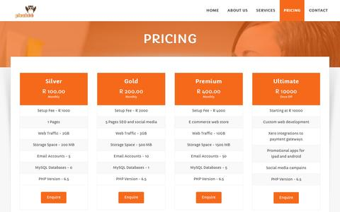 Screenshot of Pricing Page picahoo.co.za - Pricing | - captured Dec. 8, 2015