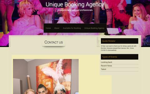 Screenshot of Contact Page uniquebookingagency.com - Contact Us | Unique Booking Agency - captured Oct. 9, 2014