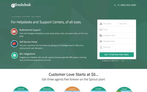 Screenshot of Landing Page freshdesk.com - Freshdesk | Online Customer Care Tool & Support Center App - captured Feb. 10, 2016