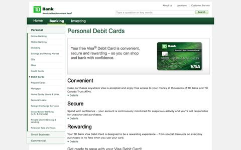 Debit Cards - Benefits of Personal Visa Debit Card | TD Bank