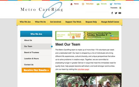Screenshot of Team Page metrocarering.org - Volunteers and Staff at Metro CareRing - Denver Food Bank - captured Oct. 27, 2014