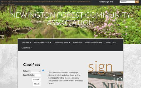 Screenshot of Services Page newingtonforest.org - Classifieds - captured Oct. 18, 2018