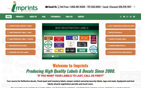 Screenshot of Home Page imprints.com - Fixed Asset & Inventory Tags, Security Labels & Reflective Decals | Imprints - captured Oct. 11, 2018