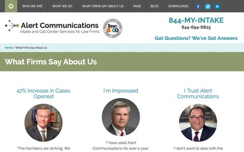 What Firms Say About Us | Alert Communications